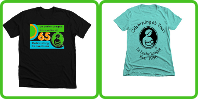 Two t Shirts. On the left the Celbrating Connections shirt, on the right celrbating 65 years with the LLL Logo