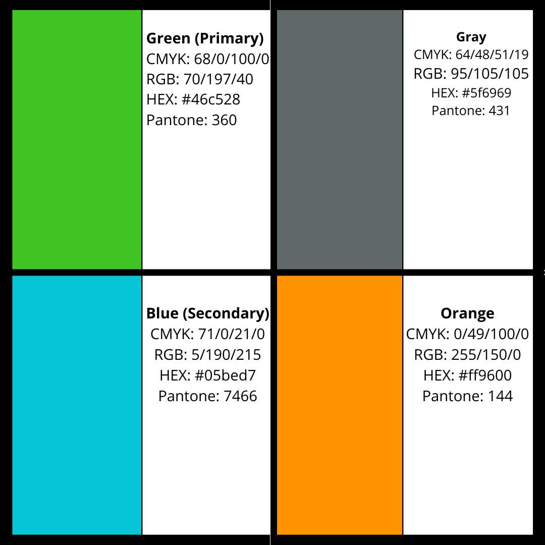 Grid of LLLI branded colours. Top left HEX: #46c528; top right HEX: #5f6969; bottom left #05bed7; bottom right HEX: #ff9600