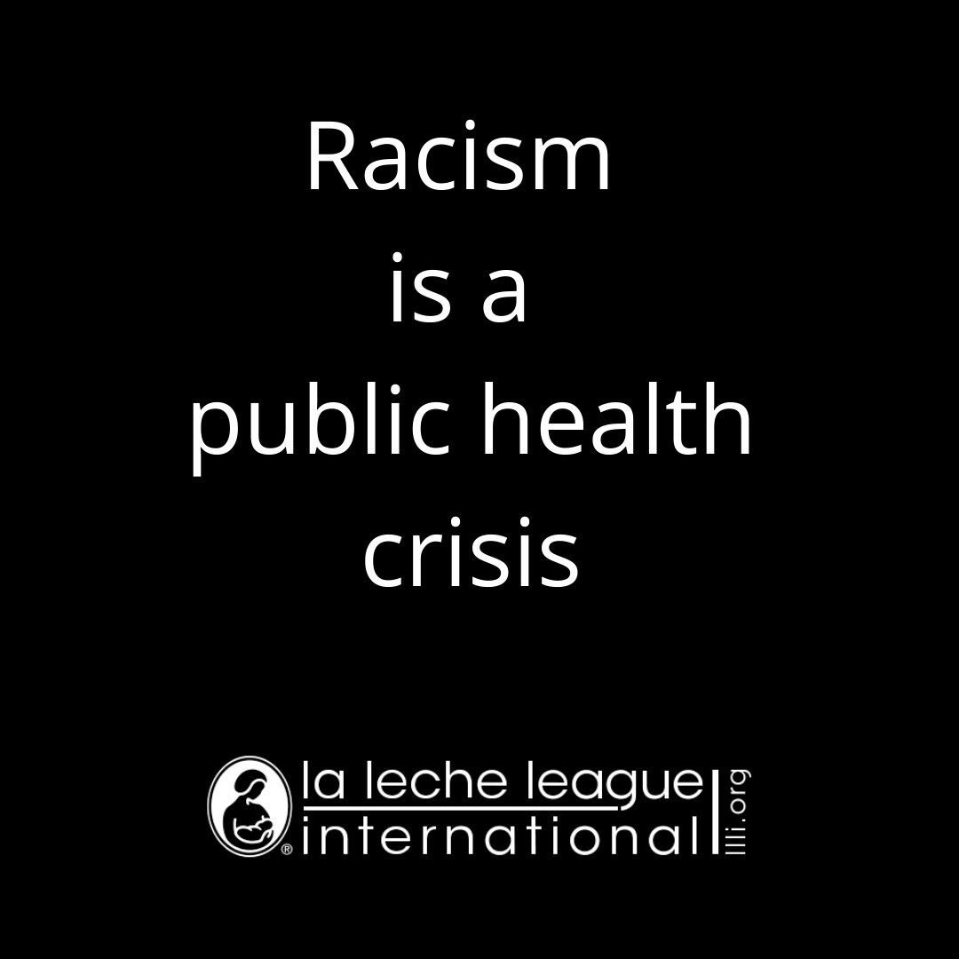 "Black background. Text ""Racism is a public health crisis"""