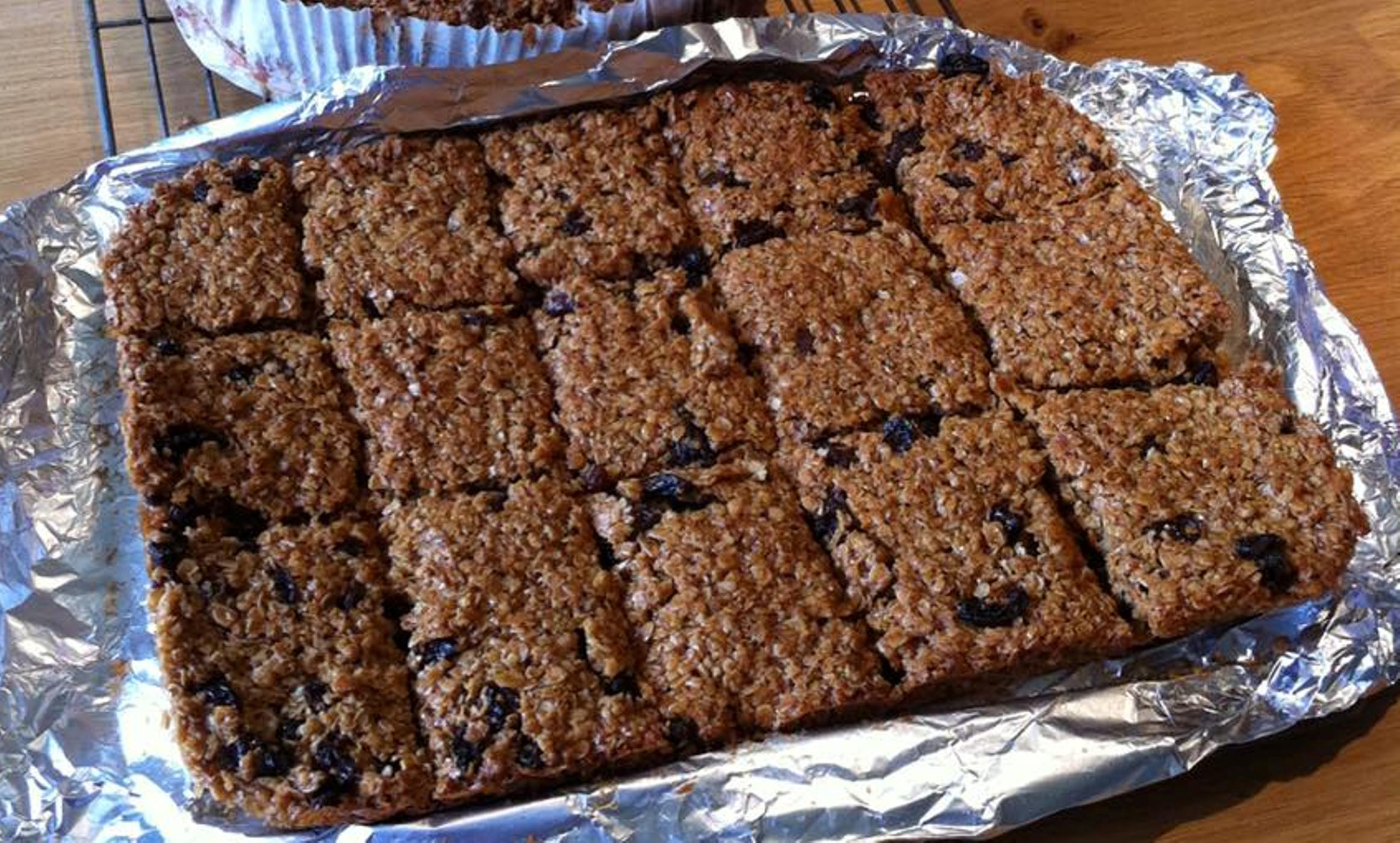 tray of flapjack cut into 15 pieces